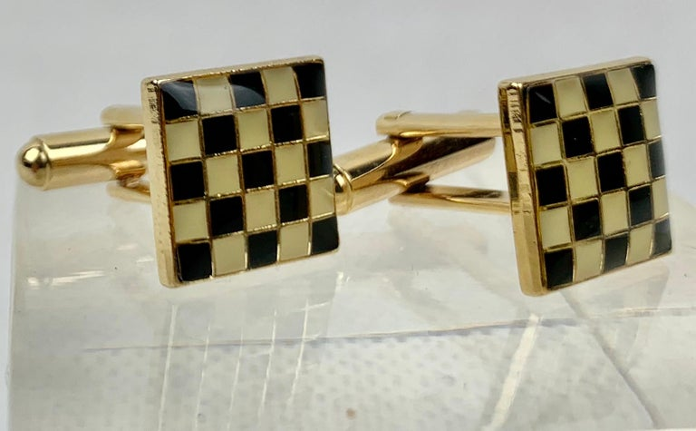 Vintage 1970s Cufflinks Gold Tone Square Cufflinks with Checker Board Pattern