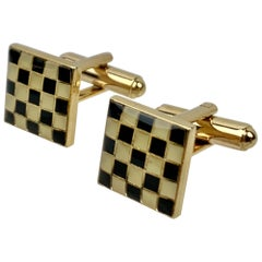 Checkerboard Pattern Gold Filled Cufflinks in High Fired Black & Cream Enamel