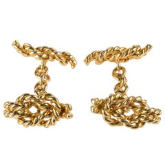 Vintage Cufflinks of Reef Knots in Textured 18 Carat Gold, English, circa 1960
