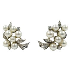 Vintage Cultured Pearl and Diamond Cluster Earrings
