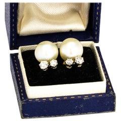 Vintage Cultured Pearl and Diamond Stud Earrings