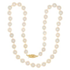 Vintage Cultured Pearl Yellow Gold Necklace