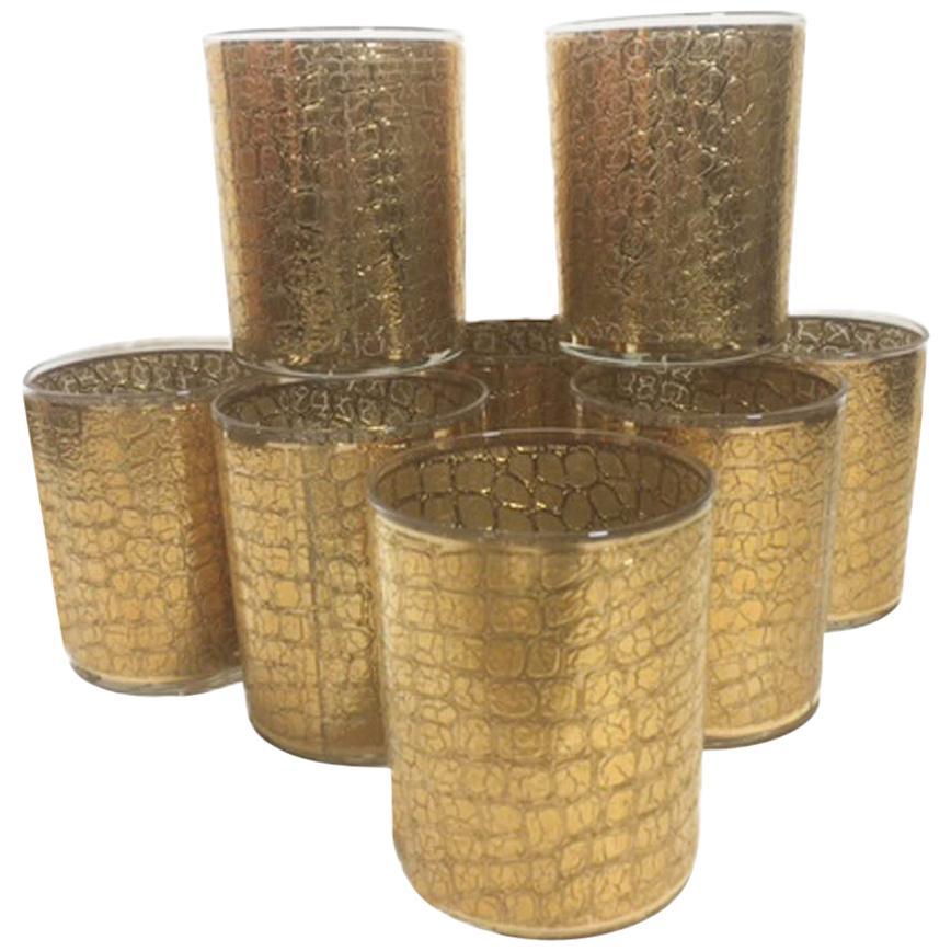 Vintage Culver 22 Karat Gold Alligator Pattern Rocks Glasses