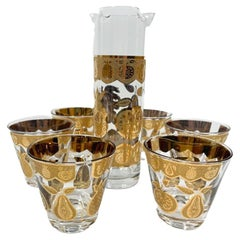 Vintage Culver Florentine Pattern Cocktail Pitcher and 6 Old Fashioned Glasses
