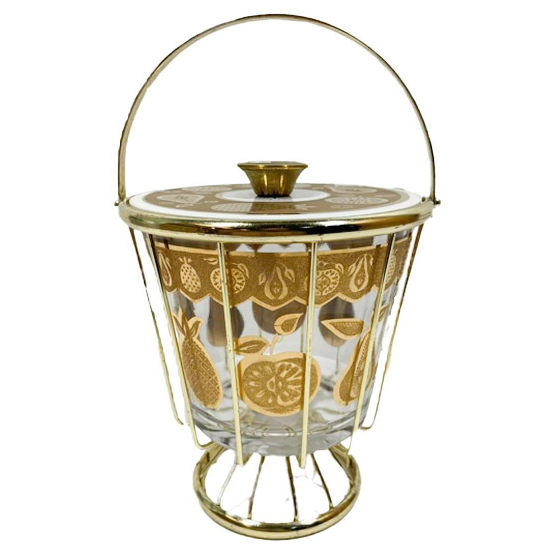 Vintage Culver Florentine Pattern Ice Bowl and Cover in Gold-Tone Wirework Caddy