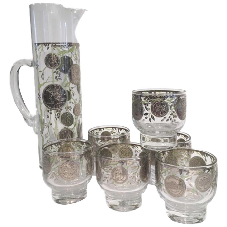 """Vintage Culver Glass Cocktail Set in the """"Midas"""" Pattern, Executed in Silver"""