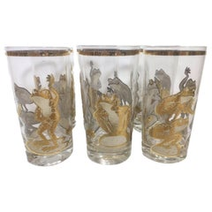 Vintage Culver Highball and Rocks Glasses with Gold Frogs Playing Leapfrog