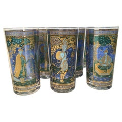 "Vintage Culver, Highball Glasses in ""Blue Genie"" Pattern"