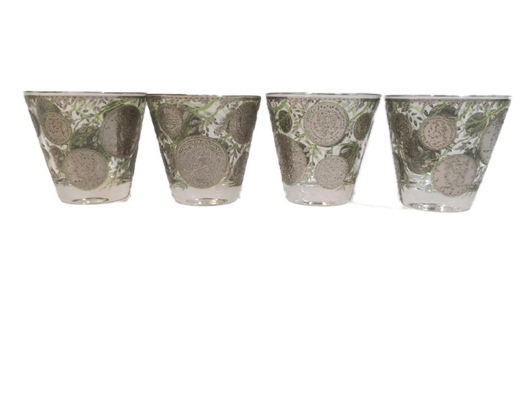 20th Century Vintage Culver Old Fashioned Glasses in Silver