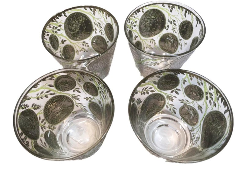 Vintage Culver Old Fashioned Glasses in Silver