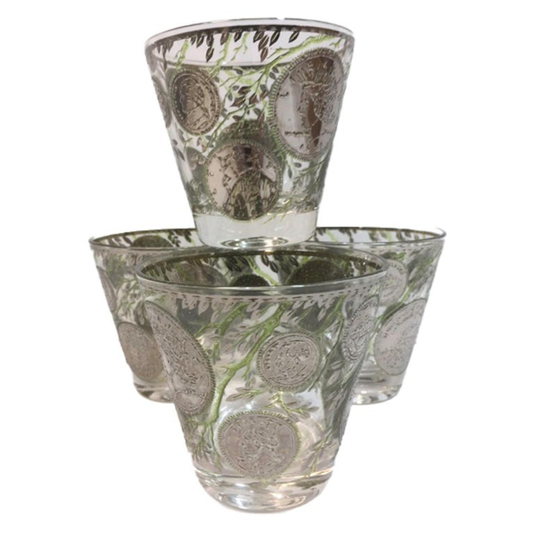 """Vintage Culver Old Fashioned Glasses in Silver """"Midas"""" Pattern For Sale"""