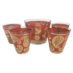 Vintage Culver Red Paisley Ice Bowl and Four Double Old Fashioned Glasses