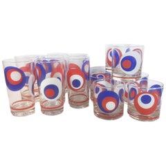 Vintage Culver, Red, White and Blue, Op-Art Barware Set, 8 Highball, 8 Rocks