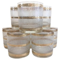Vintage Culver Rocks Glasses in the Icicle Pattern with 22 Karat Gold Bands