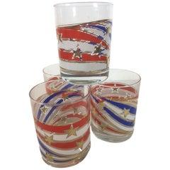 Vintage Culver Rocks Glasses, Stars & Stripes, Red, White & Blue with Gold Stars