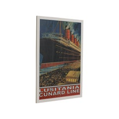 Vintage Cunard Cruise Line Poster, English, Print, RMS Lusitania, Maritime, Ship
