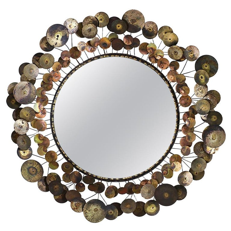 """Vintage Curtis Jere """"Cloud"""" Brass Mirror for Artisan House For Sale"""