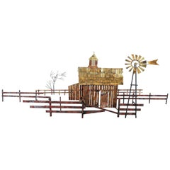 Vintage Curtis Jere Mid-Century Modern Wall Sculpture Country Farm Barn