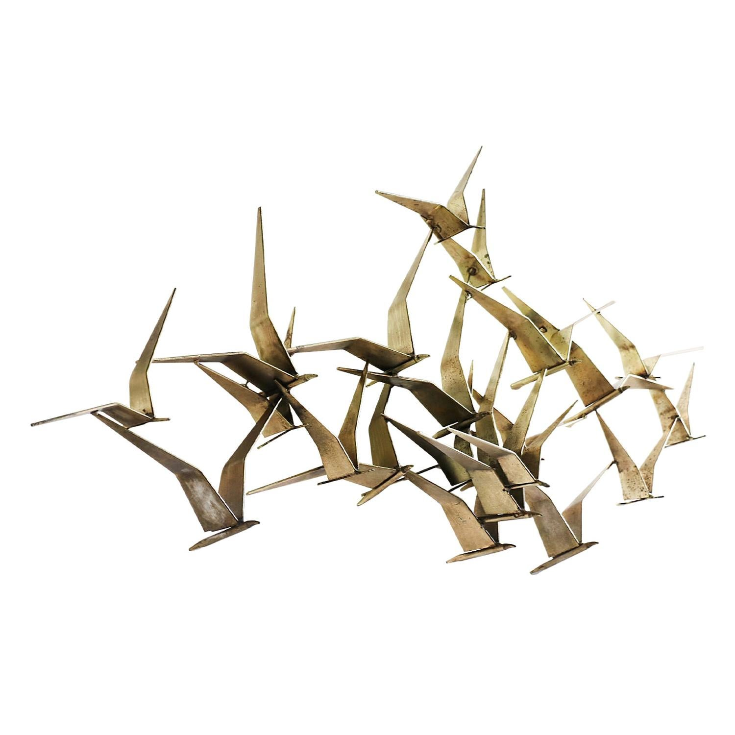 "Vintage Curtis Jere ""Sea Gulls"" Brass Wall Sculpture for Artisan House"