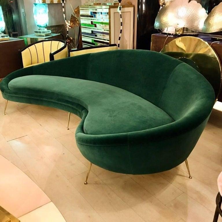 Vintage Curved Green Velvet Sofa 1980s At 1stdibs