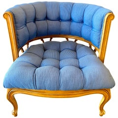 Vintage Curved Tufted Blue Upholstered Barrel Back Armchair