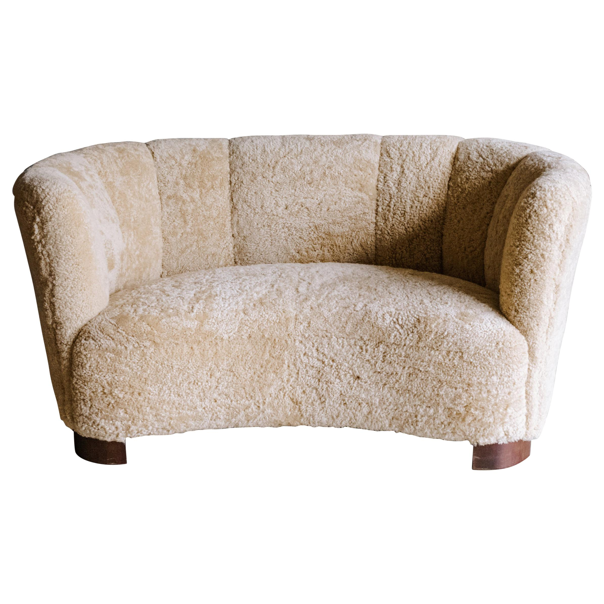 Vintage Curved Two Seater Sofa in Sheepskin, from Denmark, Circa 1950