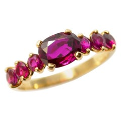 Vintage Cushion and Round Red Ruby East West 18 Karat Yellow Gold Ring