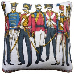 "Vintage Cushion ""Dragoon Guards"" Cotton Bark-Cloth, circa 1950 and 1960"
