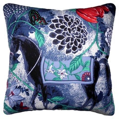 Vintage Cushion Luxury Bespoke Silk Pillow 'Equus Azul De Flores' Made in London