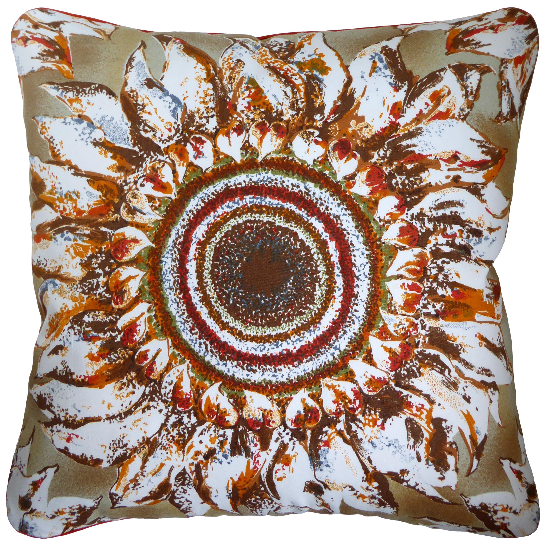 Vintage Cushions, Bespoke-Made Luxury Pillow 'Ferrara Sunflowers', Made in UK