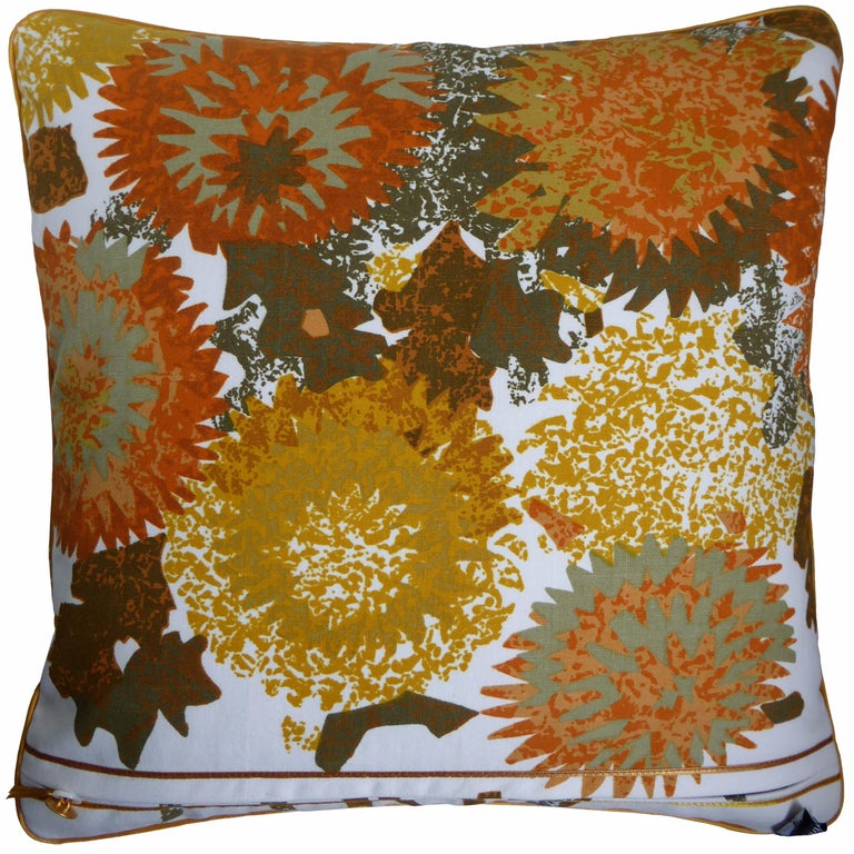 'Miranda' circa 1960 British made luxury cushion created by using original vintage furnishing fabric by Wardle & Co, a family company that dates back to the late 1800s and was responsible for printing techniques that attracted the Arts & Crafts