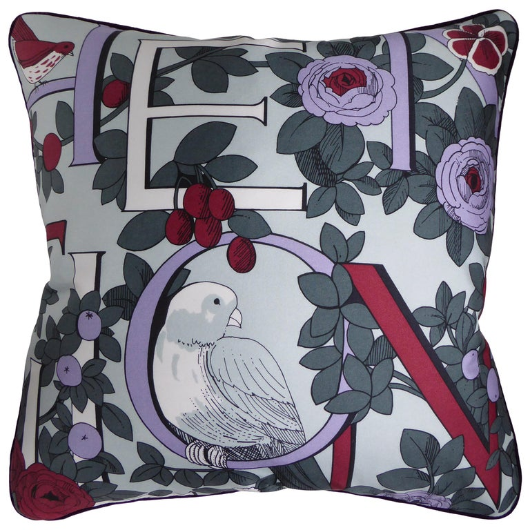 Vintage Cushions, Bespoke-Made Luxury Silk Pillow, 'National Trust' Made in UK For Sale