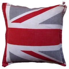 'Vintage Cushions' Bespoke-Made Pillow 'Distressed Union Jack Flag, Made in UK