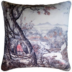 Vintage Cushions, British Bespoke Made Silk Pillow 'Pietro Annigoni' Made in UK