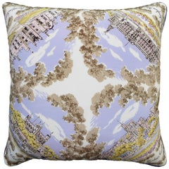 Vintage Cushions, British Bespoke Made Silk Pillow 'Windsor Castle', Made in UK