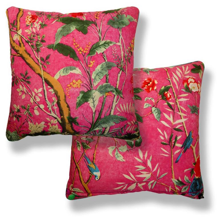 "Vintage Cushions ""Cerise Forest"" Bespoke Luxury Silk"