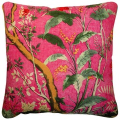 "Vintage Cushions ""Cerise Forest"" Bespoke luxury silk pillow - Made in London"