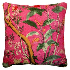 "Vintage Cushions ""Cerise Forest"", Bespoke Luxury Silk Pillow, Made in London"