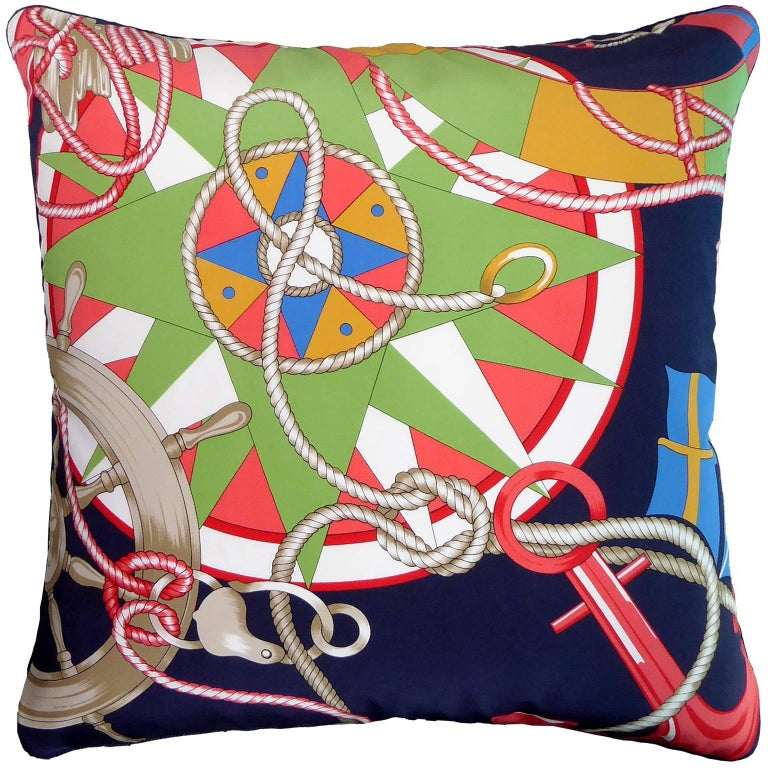 "Vintage Cushions ""Cunard White Star"" Bespoke Silk Pillow, Made in London For Sale"