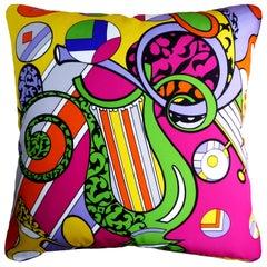 Vintage Cushions 'Harp Vase' Bespoke Made Silk Pillow/Cushion, Made in UK