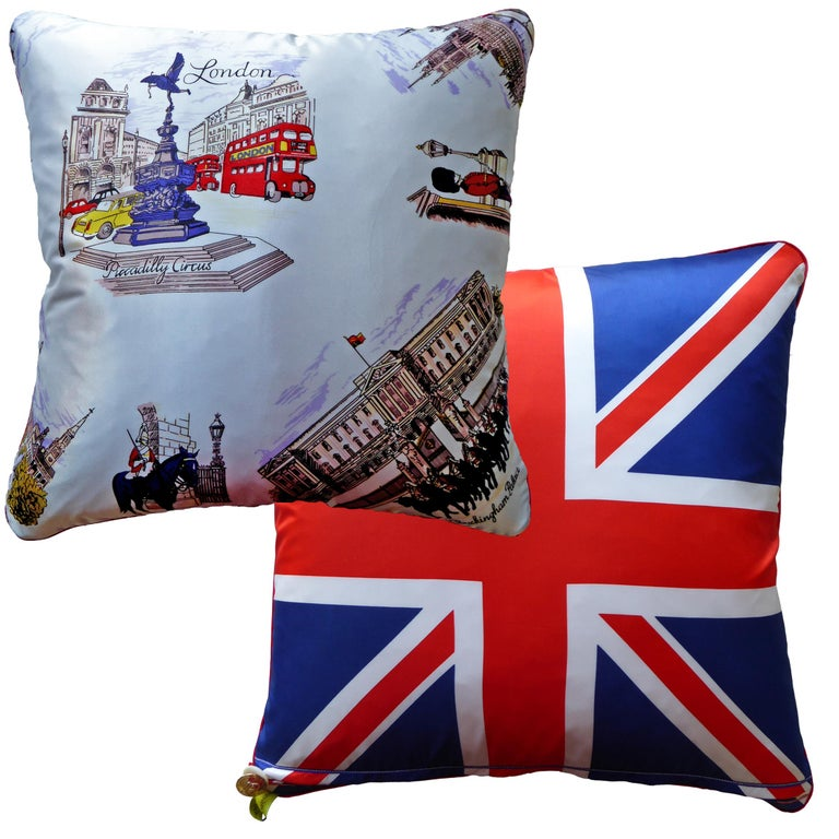 Organic Modern 'Vintage Cushions' Luxury Bespoke Luxury Pillow 'Piccadilly Circus', Made in UK For Sale