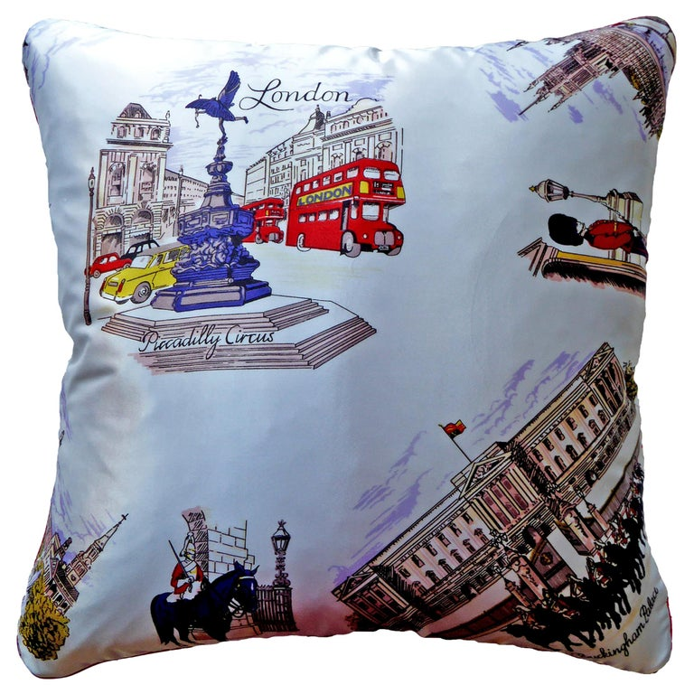 'Vintage Cushions' Luxury Bespoke Luxury Pillow 'Piccadilly Circus', Made in UK For Sale
