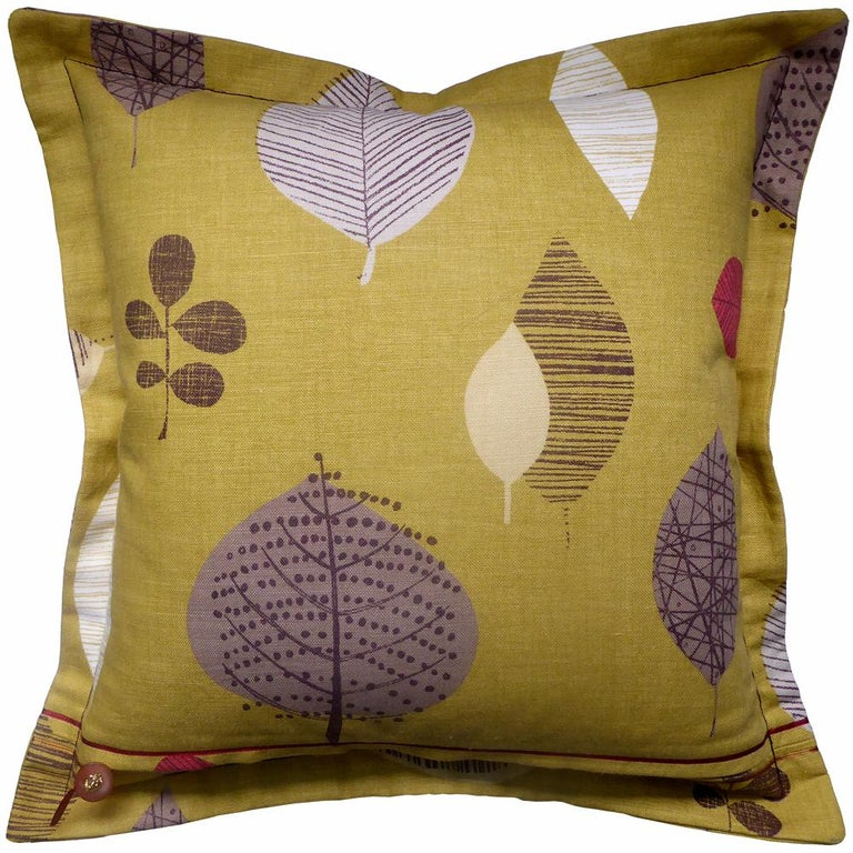 'Perry Green' circa 1990-1999 British bespoke-made luxury pillow created in beautiful linen featuring naturalistic graphics to suit a minimalist look whilst giving a twist of nature to the theme Provenance; Britain Made by Nichollette