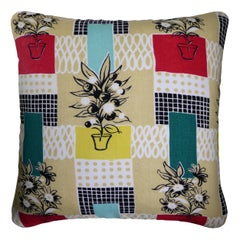 'Vintage Cushions' Luxury Bespoke-Made Pillow 'Flowerpots', Made in London