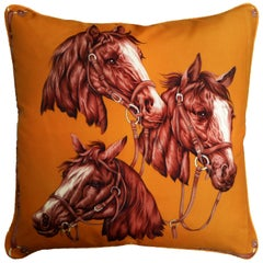 'Vintage Cushions', Luxury Bespoke-Made Pillow 'Golden Horses' British Made