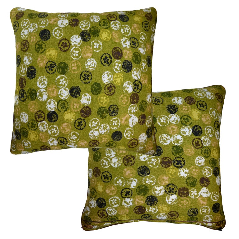 Mid-Century Modern Vintage Cushions Luxury Bespoke Made Pillow 'Monoprinty Lemons' Made in London For Sale