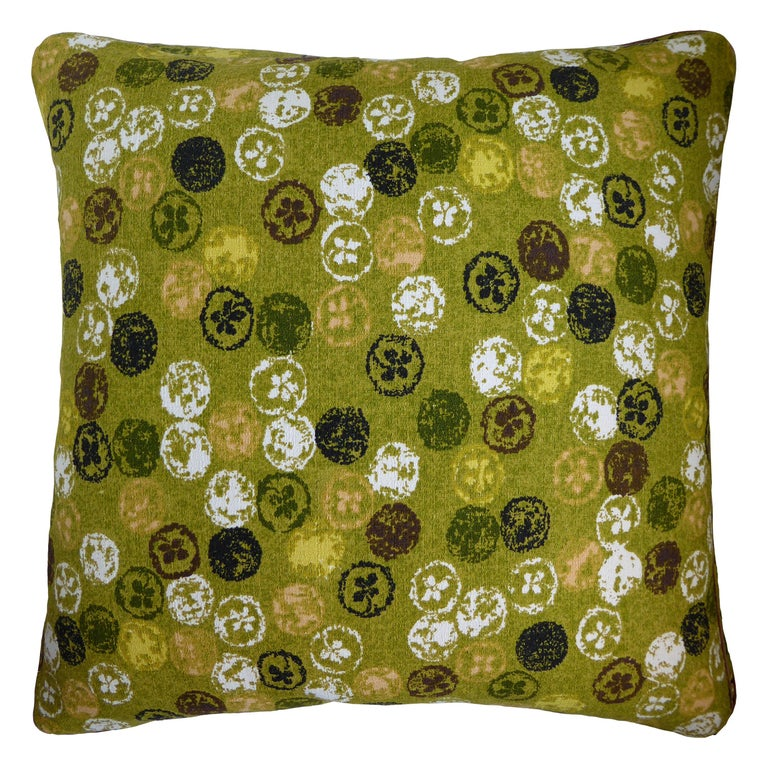 Vintage Cushions Luxury Bespoke Made Pillow 'Monoprinty Lemons' Made in London For Sale