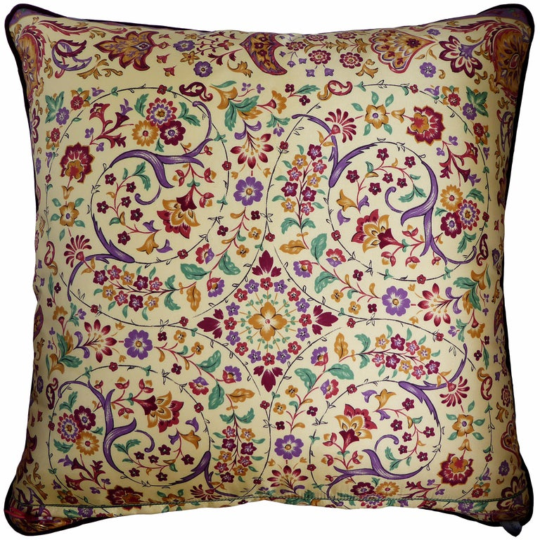 Vintage cushions - 'Past Times' Past Times, circa 1980 British bespoke luxury cushion created using original vintage silks with two beautiful and complimentary mis-match sides. Both sides are designed and printed by the British company Beckford