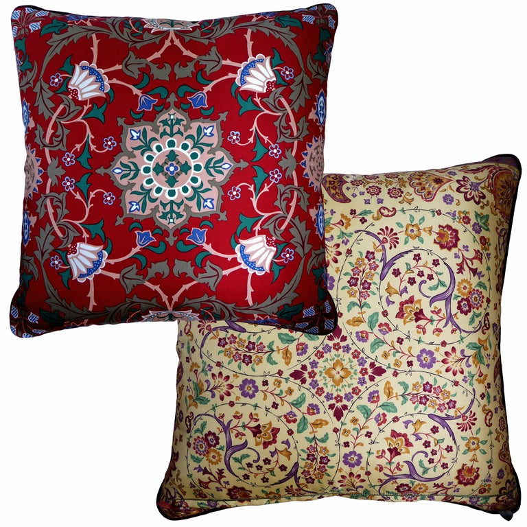 Organic Modern 'Vintage Cushions' Luxury Bespoke-Made Pillow 'Past Times', Made in London For Sale