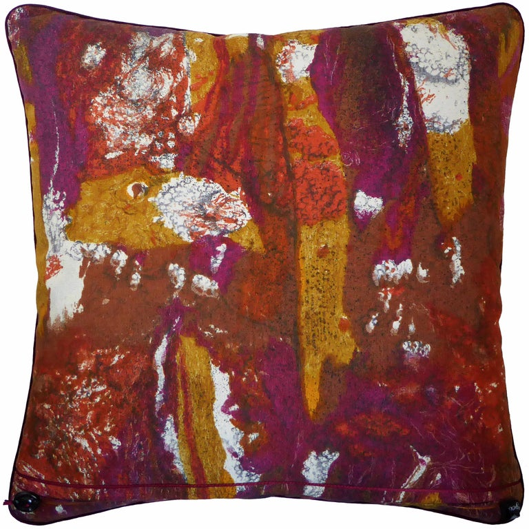 Tapa, circa - 1960 British bespoke-made luxury pillow/cushion created in original fabric designed by Hans Juda for Heals Fabrics Ltd, London in a stunning abstract design and color-way. An example of which is currently held in the archives of the